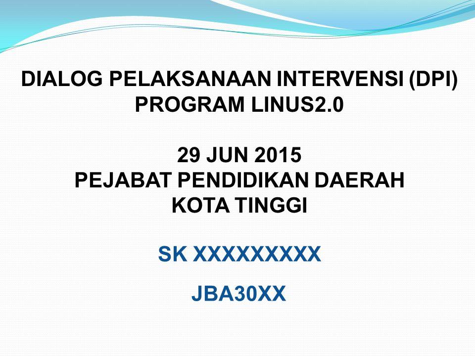 DIALOG PELAKSANAAN INTERVENSI (DPI) PROGRAM LINUS2.0 29 JUN 2015 PEJABAT PENDIDIKAN DAERAH KOTA TINGGI SK XXXXXXXXX JBA30XX