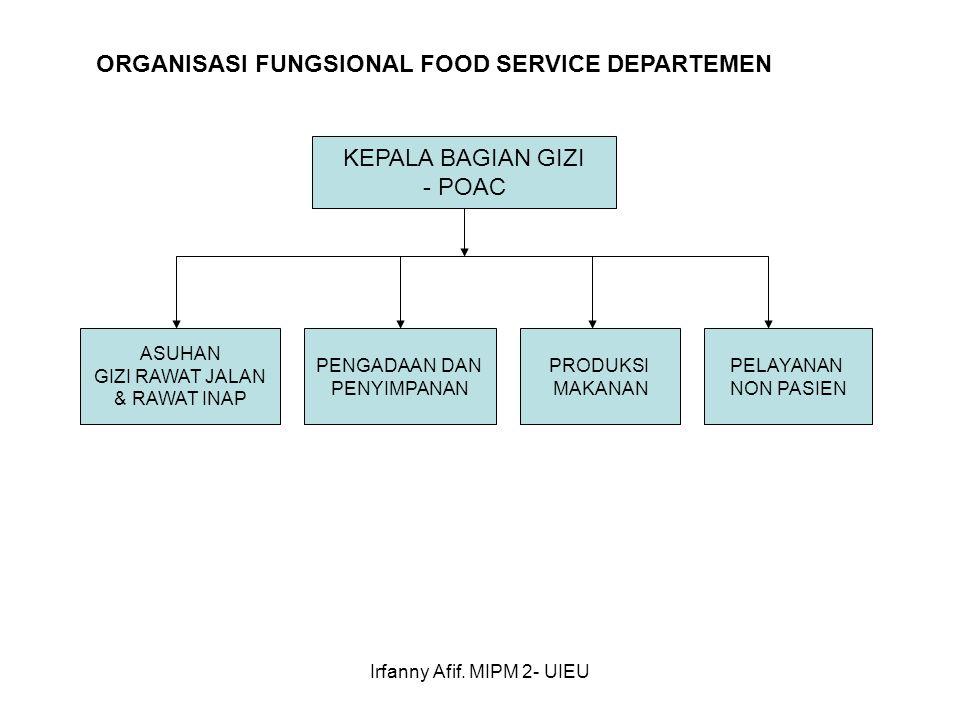 Irfanny Afif. MIPM 2- UIEU KEPALA BAGIAN GIZI - POAC ASUHAN GIZI RAWAT JALAN & RAWAT INAP ORGANISASI FUNGSIONAL FOOD SERVICE DEPARTEMEN PENGADAAN DAN
