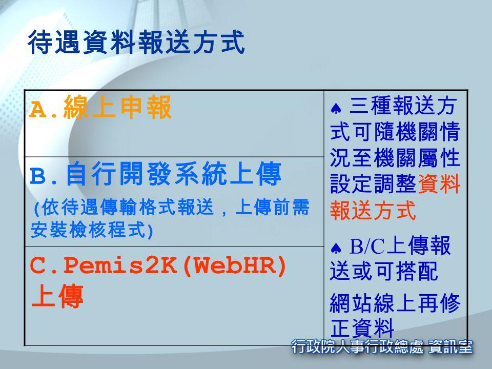 待遇資料報送方式 A. 線上申報  三種報送方 式可隨機關情 況至機關屬性 設定調整資料 報送方式  B/C 上傳報 送或可搭配 網站線上再修 正資料 B. 自行開發系統上傳 ( 依待遇傳輸格式報送,上傳前需 安裝檢核程式 ) C.Pemis2K(WebHR) 上傳