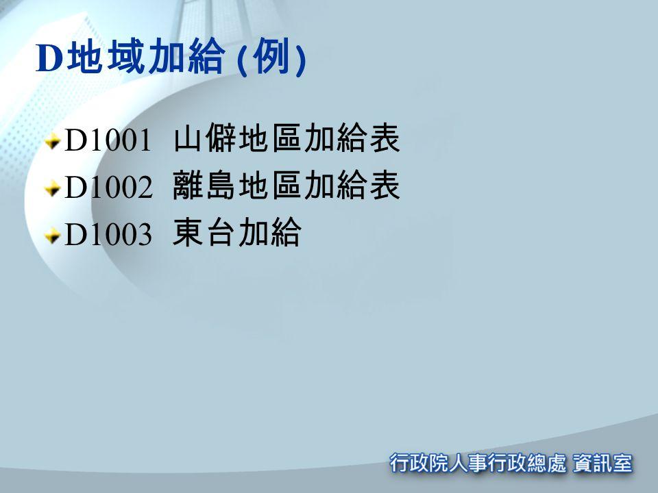 D 地域加給 ( 例 ) D1001 山僻地區加給表 D1002 離島地區加給表 D1003 東台加給