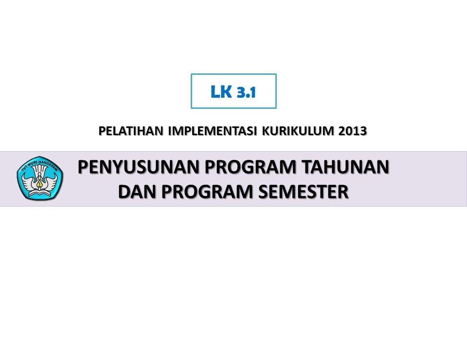 2 PELATIHAN IMPLEMENTASI KURIKULUM 2013 PENYUSUNAN PROGRAM TAHUNAN DAN PROGRAM SEMESTER LK 3.1