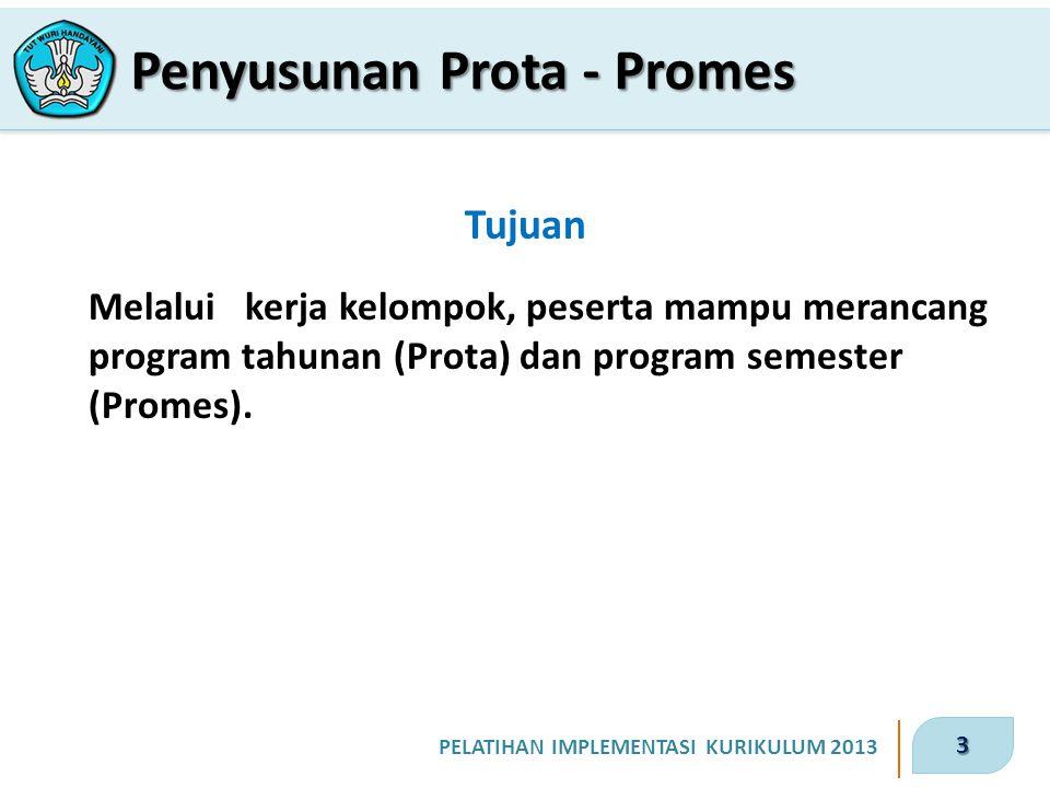 3 PELATIHAN IMPLEMENTASI KURIKULUM 2013 Tujuan Melalui kerja kelompok, peserta mampu merancang program tahunan (Prota) dan program semester (Promes).