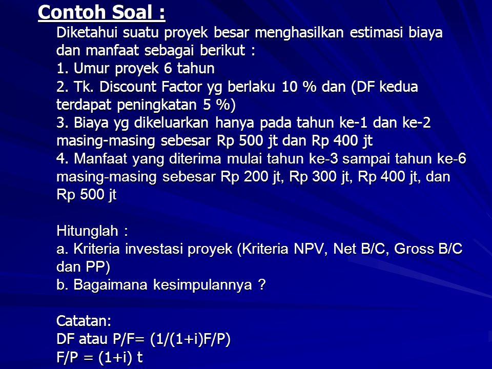 Contoh Soal : Diketahui suatu proyek besar menghasilkan estimasi biaya dan manfaat sebagai berikut : 1. Umur proyek 6 tahun 2. Tk. Discount Factor yg