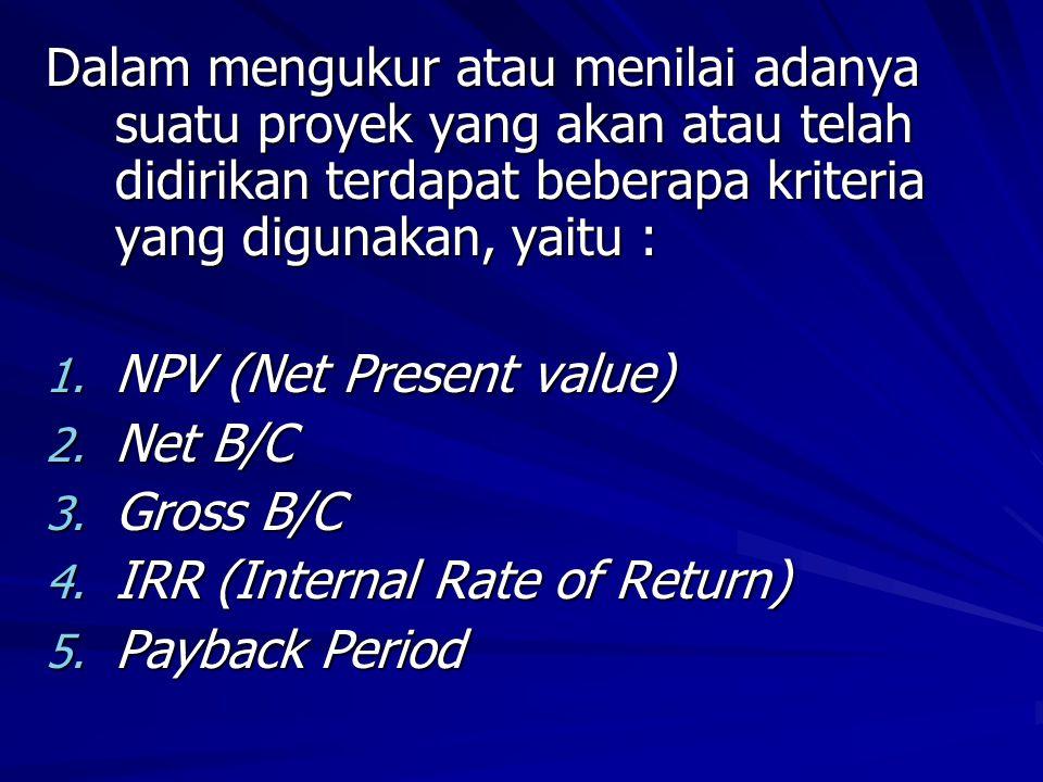 Indikator IRR : - Jika IRR > tingkat discount rate yg berlaku maka proyek layak (go) utk dilaksanakan - Jika IRR tingkat discount rate yg berlaku maka proyek layak (go) utk dilaksanakan - Jika IRR < tingkat discount rate yg berlaku, maka proyek tdk layak (not go) utk dilaksanakan