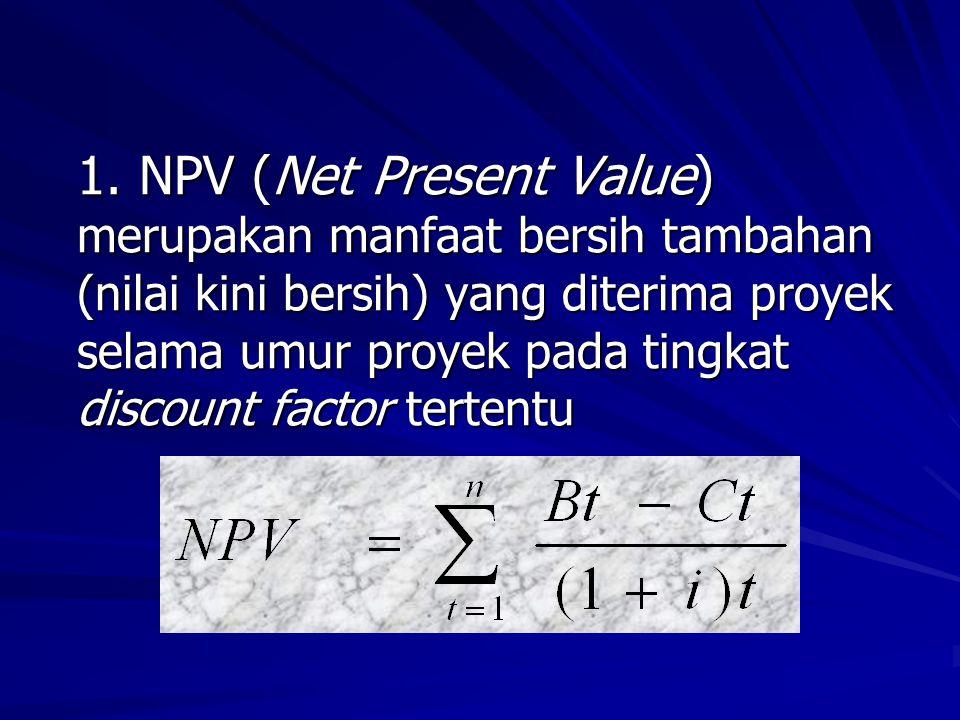 NPV merupakan selisih antara present value benefit dengan present value cost (Rp, Rp Jt, dll) Indikator NPV : Jika NPV > 0 (positif), maka proyek layak (go) utk dilaksanakan Jika NPV 0 (positif), maka proyek layak (go) utk dilaksanakan Jika NPV < 0 (negatif), maka proyek tidak layak (not go) utk dilaksanakan