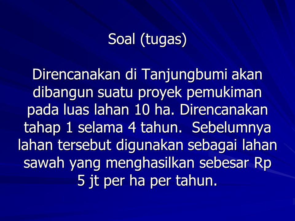 Soal (tugas) Direncanakan di Tanjungbumi akan dibangun suatu proyek pemukiman pada luas lahan 10 ha. Direncanakan tahap 1 selama 4 tahun. Sebelumnya l