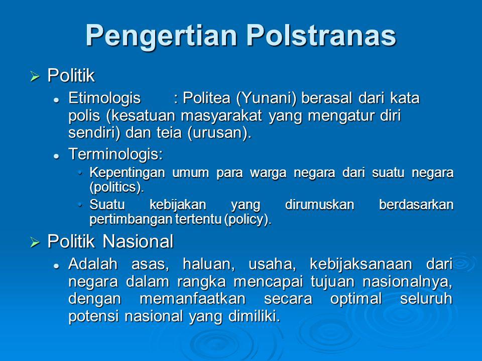 Pengertian Polstranas  Strategi Etimologis: strategos (Yunani) = the art of general = ilmu tentang bagaimana menjalankan politik = kiat khusus yang dilakukan untuk memaksimalkan tujuan politik.
