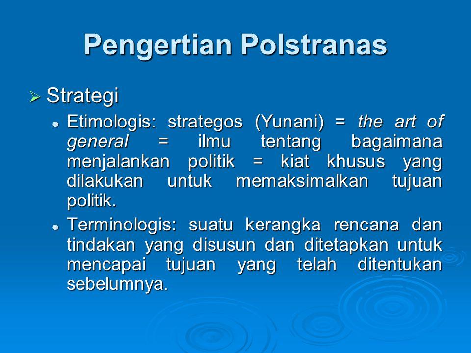 Pengertian Polstranas  Strategi Etimologis: strategos (Yunani) = the art of general = ilmu tentang bagaimana menjalankan politik = kiat khusus yang d