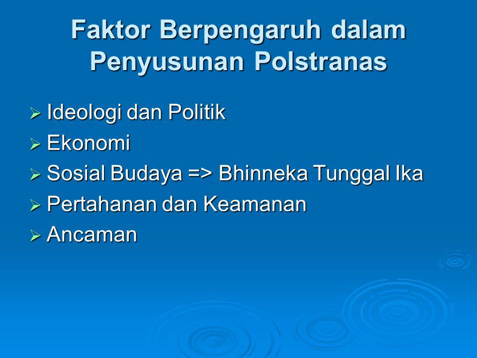 Faktor Berpengaruh dalam Penyusunan Polstranas  Ideologi dan Politik  Ekonomi  Sosial Budaya => Bhinneka Tunggal Ika  Pertahanan dan Keamanan  An