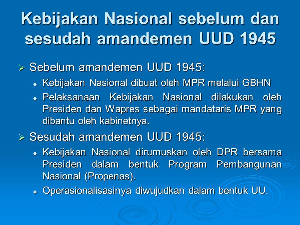 Kebijakan Nasional sebelum dan sesudah amandemen UUD 1945  Sebelum amandemen UUD 1945: Kebijakan Nasional dibuat oleh MPR melalui GBHN Kebijakan Nasi