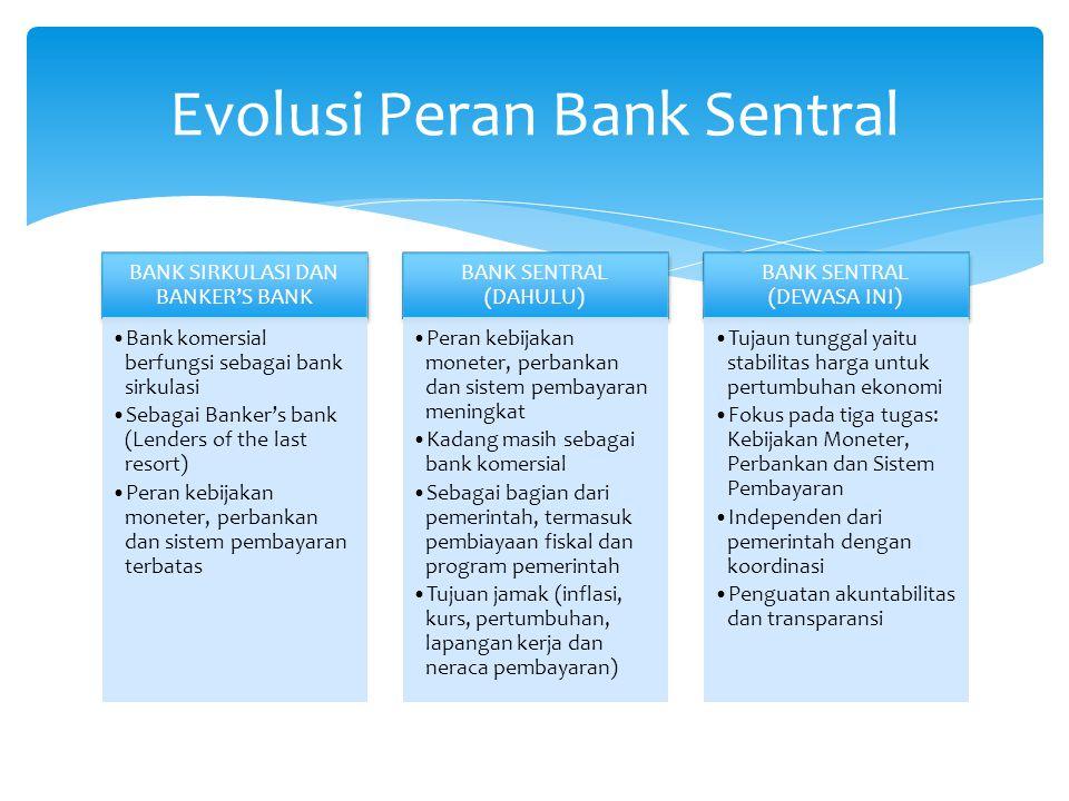 Bank Sentral adalah lembaga negara yang mempunyai wewenang:  Mengeluarkan alat pembayaran yang sah dari suatu negara  Merumuskan dan melaksanakan kebijakan moneter  Mengatur dan menjaga kelancaran sistem pembayaran  Mengatur dan mengawasi perbankan  Menjalankan fungsi sebagai lender of the last resort Bank Sentral