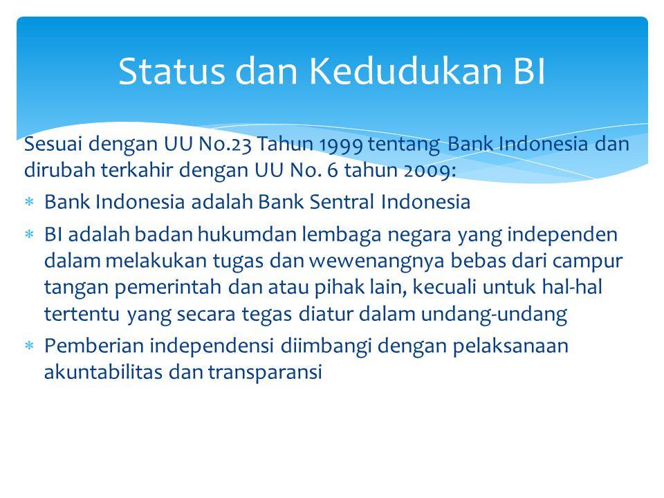 Tujuan Bank Indonesia Mencapai dan memelihara kestabilan nilai tukar rupiah:  Terhadap barang dan jasa tercermin dari perkembangan laju inflasi  Terhadap mata uang asing tercermin dari perkembangan nilai tukar rupiah (kurs) terhadap mata uang asing Tugas Pokok Bank Indonesia  Menetapkan dan melaksanakan kebijakan moneter  Mengatur dan menjaga kelancaran sistem pembayaran  Mengatur dan mengawasi bank Tujuan dan Tugas BI