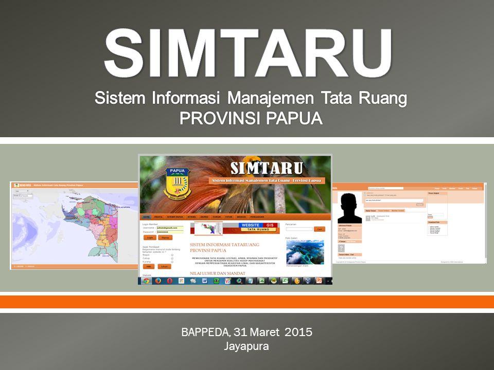  Sistem Informasi Managemen Tata Ruang (SIMTARU) merupakan sistem pengelolaan data spasial dan non spasial berbasis web yang sistematis, dan dapat diakses oleh semua pihak dalam rangka mendukung penataan ruang, kapanpun dan dimanapun selagi terkoneksi dengan internet.