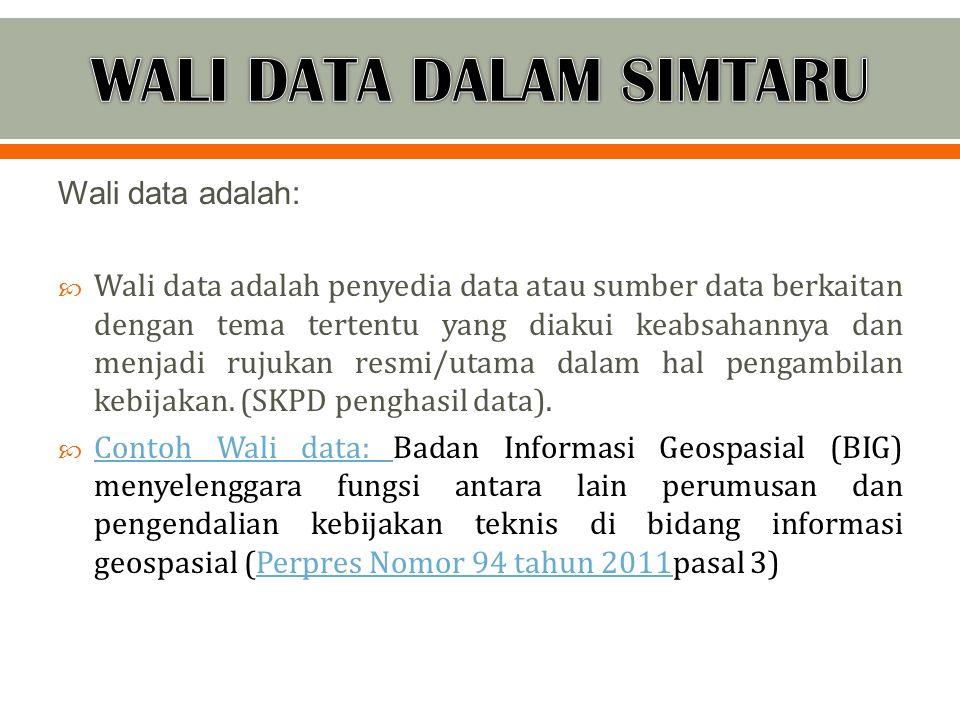 Wali data adalah:  Wali data adalah penyedia data atau sumber data berkaitan dengan tema tertentu yang diakui keabsahannya dan menjadi rujukan resmi/