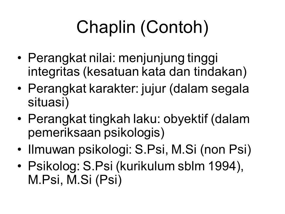 Chaplin (Contoh) Perangkat nilai: menjunjung tinggi integritas (kesatuan kata dan tindakan) Perangkat karakter: jujur (dalam segala situasi) Perangkat