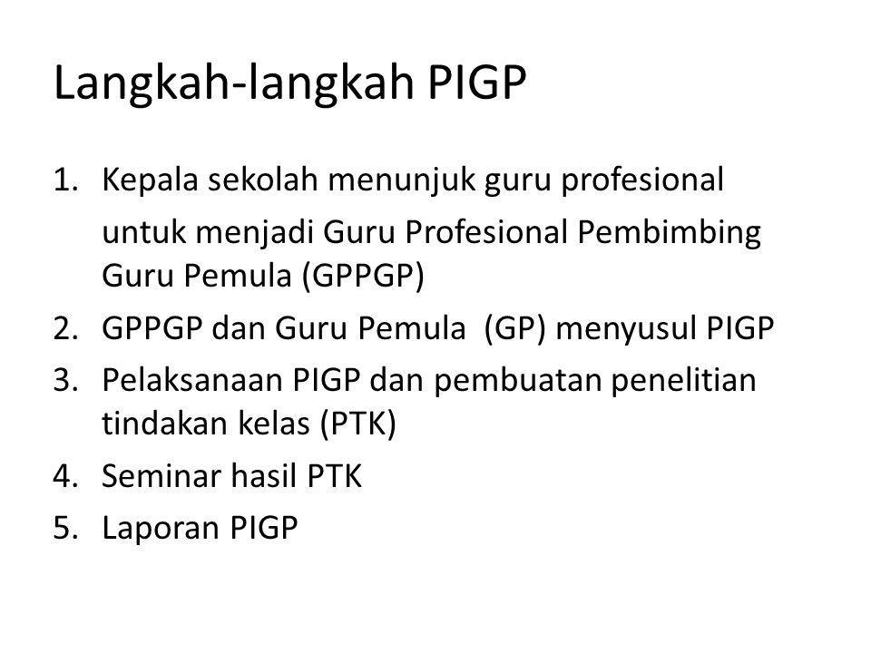 Langkah-langkah PIGP 1.Kepala sekolah menunjuk guru profesional untuk menjadi Guru Profesional Pembimbing Guru Pemula (GPPGP) 2.GPPGP dan Guru Pemula