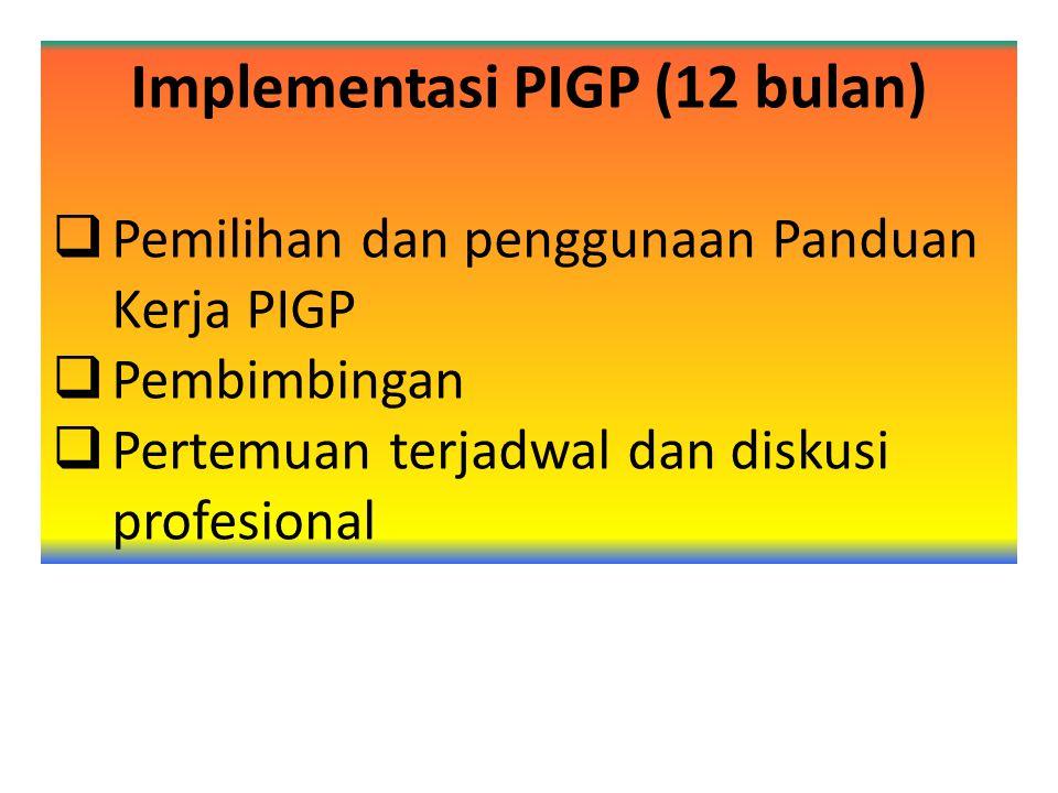 Implementasi PIGP (12 bulan)  Pemilihan dan penggunaan Panduan Kerja PIGP  Pembimbingan  Pertemuan terjadwal dan diskusi profesional