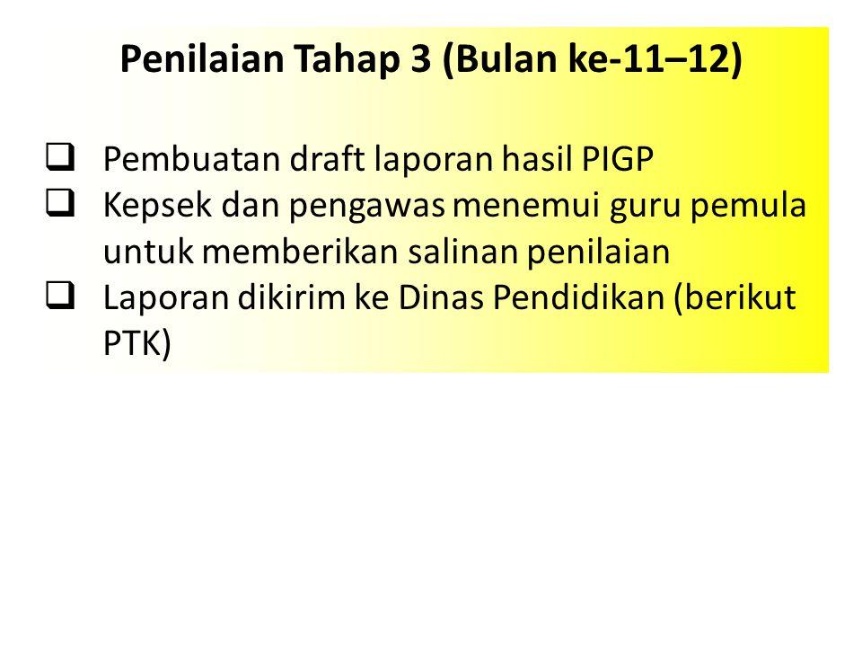 Penilaian Tahap 3 (Bulan ke-11–12)  Pembuatan draft laporan hasil PIGP  Kepsek dan pengawas menemui guru pemula untuk memberikan salinan penilaian 