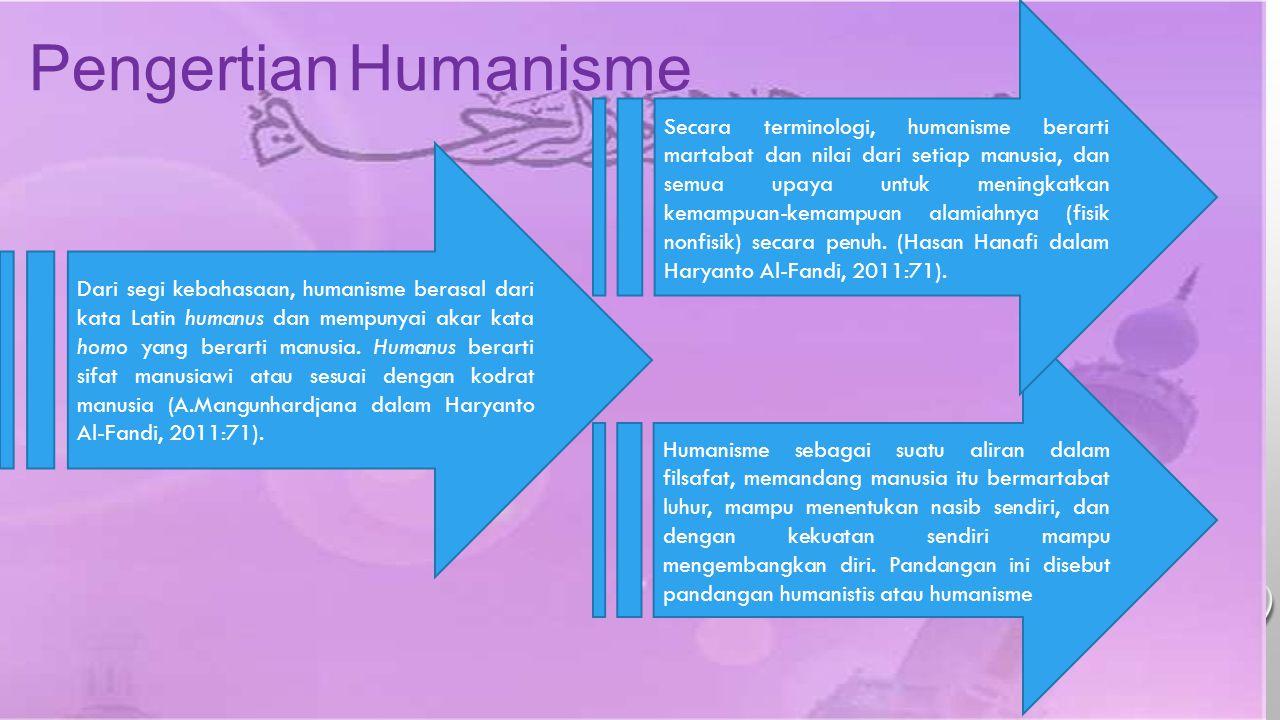 Pengertian Humanisme Dari segi kebahasaan, humanisme berasal dari kata Latin humanus dan mempunyai akar kata homo yang berarti manusia. Humanus berart