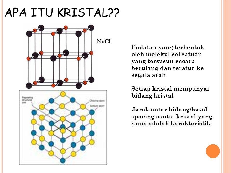 APA ITU KRISTAL?? Padatan yang terbentuk oleh molekul sel satuan yang tersusun secara berulang dan teratur ke segala arah Setiap kristal mempunyai bid