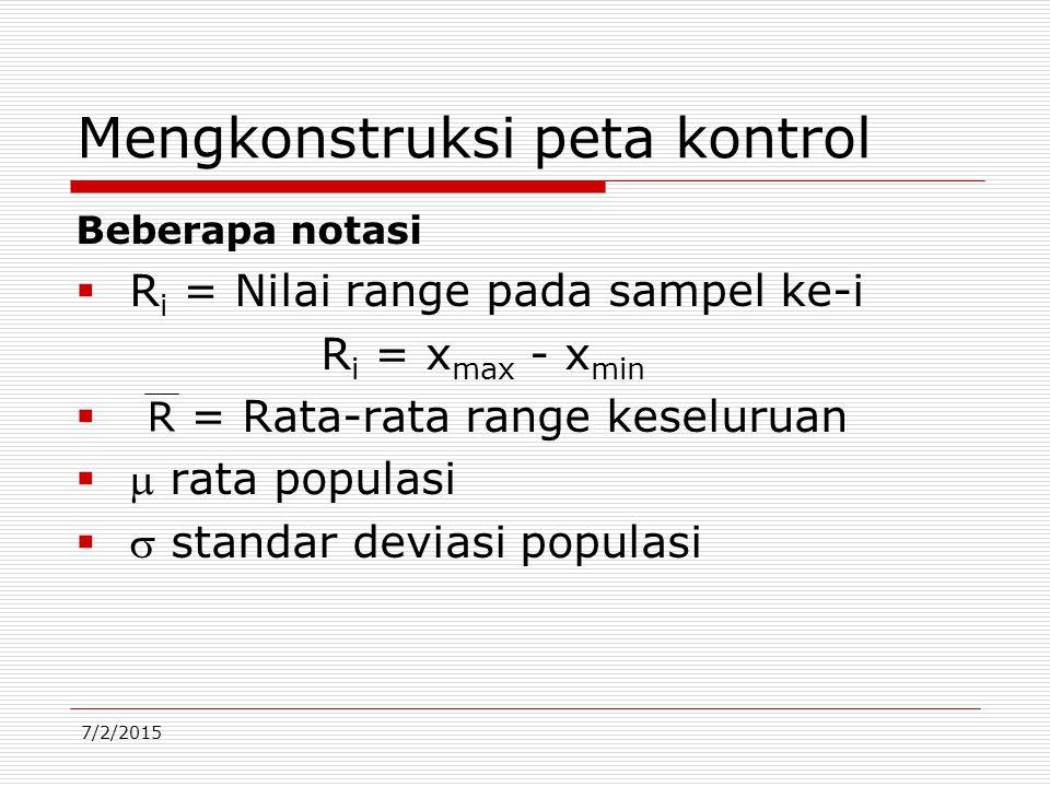 7/2/2015 Beberapa notasi  R i = Nilai range pada sampel ke-i R i = x max - x min  = Rata-rata range keseluruan   rata populasi   standar deviasi populasi Mengkonstruksi peta kontrol R