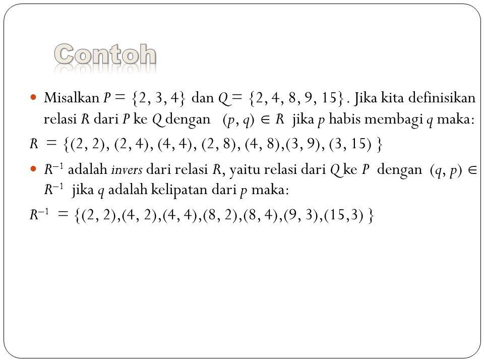 Misalkan P = {2, 3, 4} dan Q = {2, 4, 8, 9, 15}.
