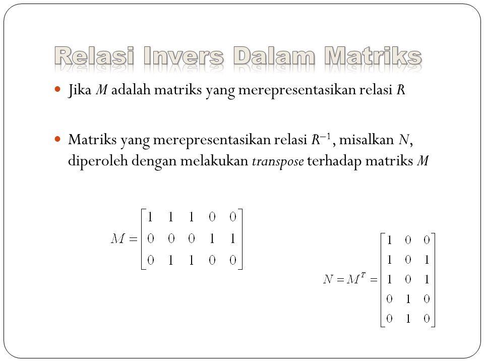 Jika M adalah matriks yang merepresentasikan relasi R Matriks yang merepresentasikan relasi R –1, misalkan N, diperoleh dengan melakukan transpose terhadap matriks M