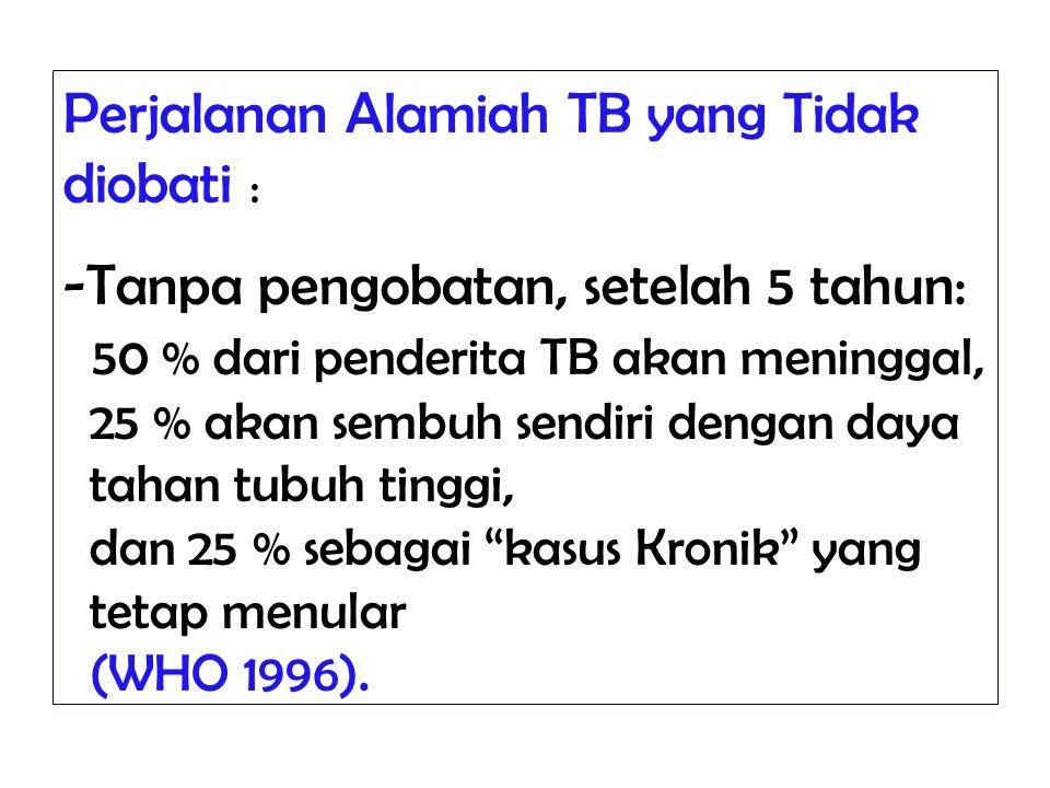 Perjalanan Alamiah TB yang Tidak diobati : -Tanpa pengobatan, setelah 5 tahun: 50 % dari penderita TB akan meninggal, 25 % akan sembuh sendiri dengan