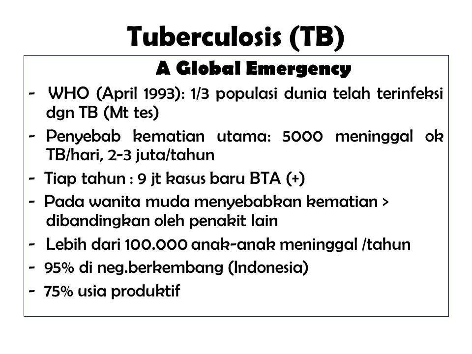 Tuberculosis (TB) A Global Emergency - WHO (April 1993): 1/3 populasi dunia telah terinfeksi dgn TB (Mt tes) -Penyebab kematian utama: 5000 meninggal