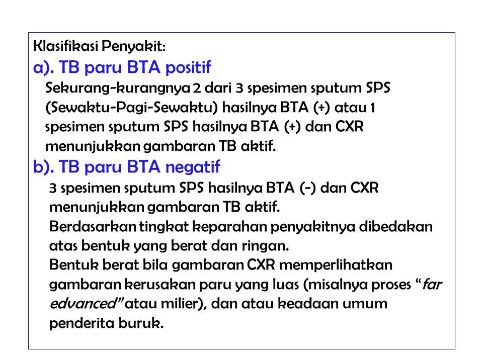 Klasifikasi Penyakit: a). TB paru BTA positif Sekurang-kurangnya 2 dari 3 spesimen sputum SPS (Sewaktu-Pagi-Sewaktu) hasilnya BTA (+) atau 1 spesimen
