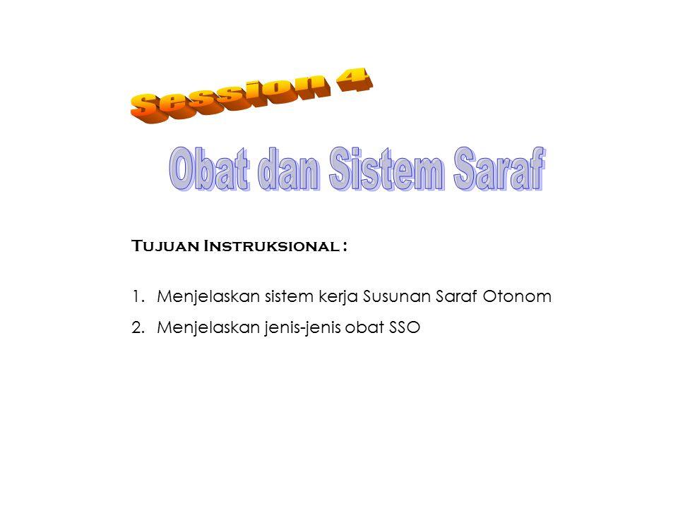 Tujuan Instruksional : 1.Menjelaskan sistem kerja Susunan Saraf Otonom 2.Menjelaskan jenis-jenis obat SSO