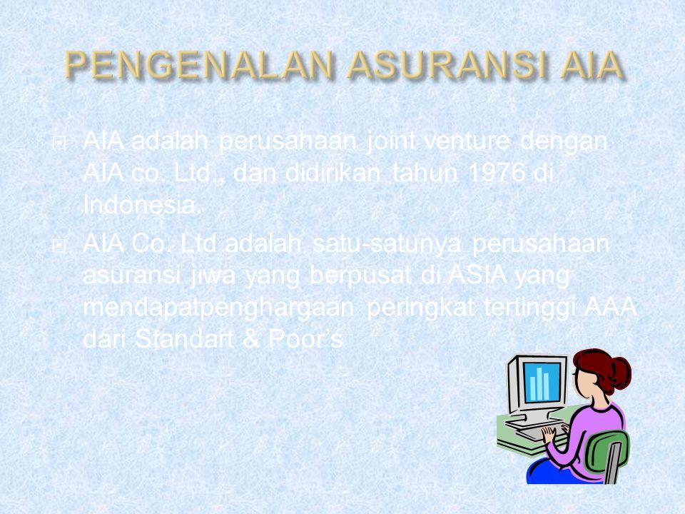  AIA adalah perusahaan joint venture dengan AIA co. Ltd., dan didirikan tahun 1976 di Indonesia.  AIA Co. Ltd adalah satu-satunya perusahaan asurans