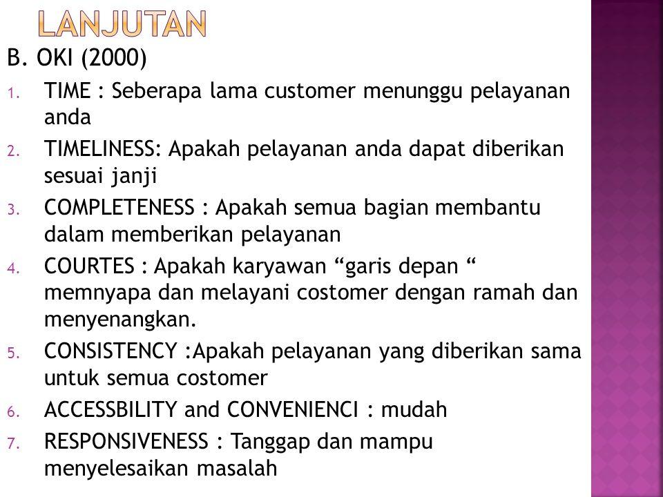 B. OKI (2000) 1. TIME : Seberapa lama customer menunggu pelayanan anda 2. TIMELINESS: Apakah pelayanan anda dapat diberikan sesuai janji 3. COMPLETENE
