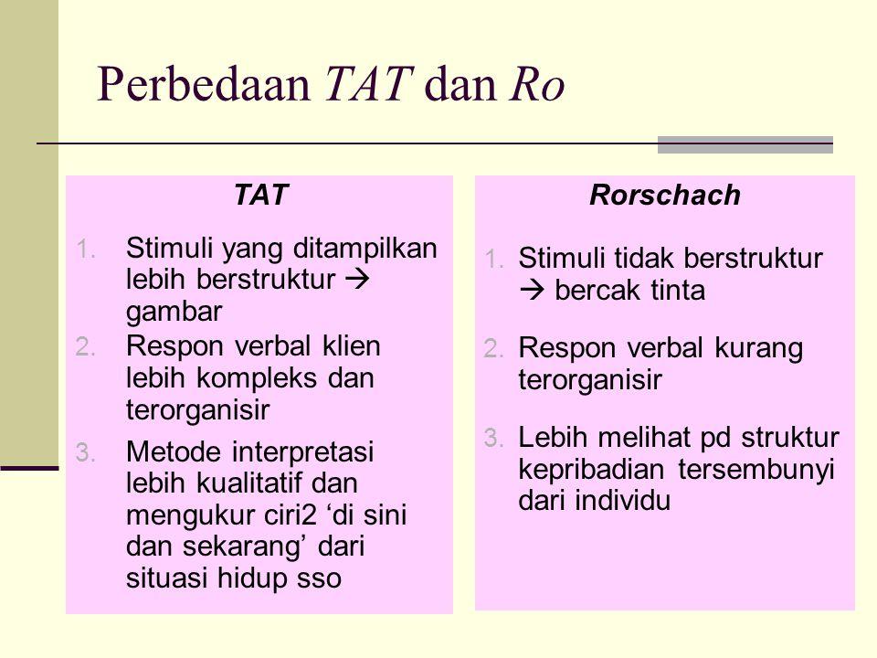 Perbedaan TAT dan Ro TAT 1. Stimuli yang ditampilkan lebih berstruktur  gambar 2. Respon verbal klien lebih kompleks dan terorganisir 3. Metode inter