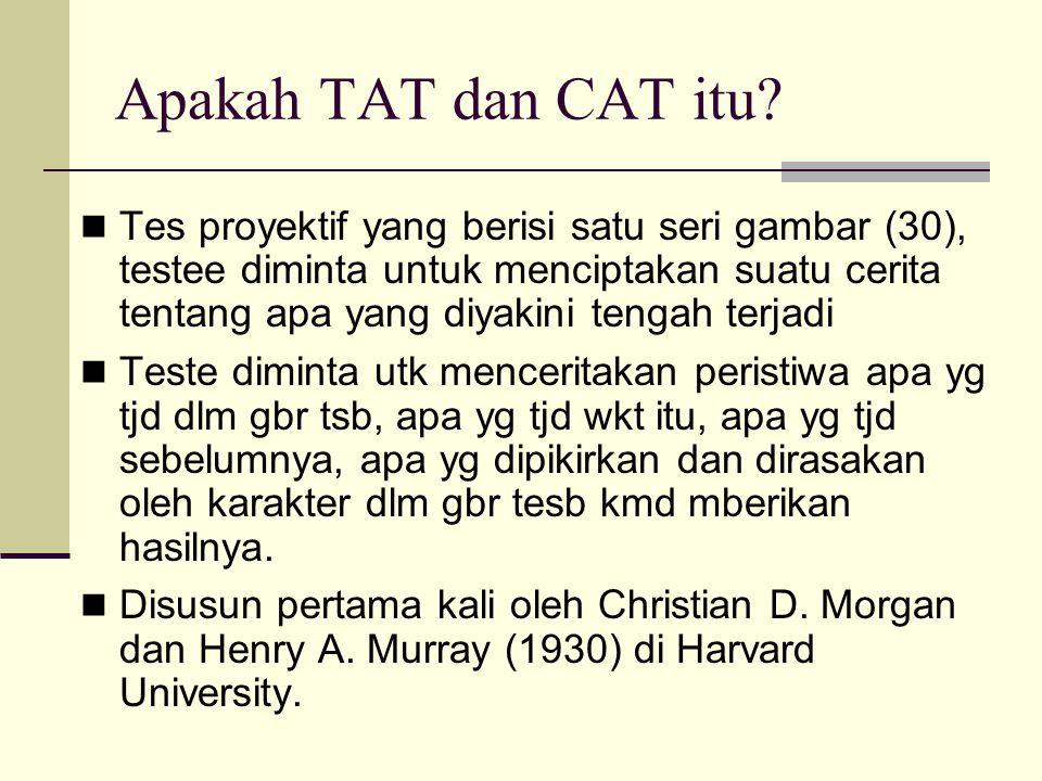 Apakah TAT dan CAT itu? Tes proyektif yang berisi satu seri gambar (30), testee diminta untuk menciptakan suatu cerita tentang apa yang diyakini tenga