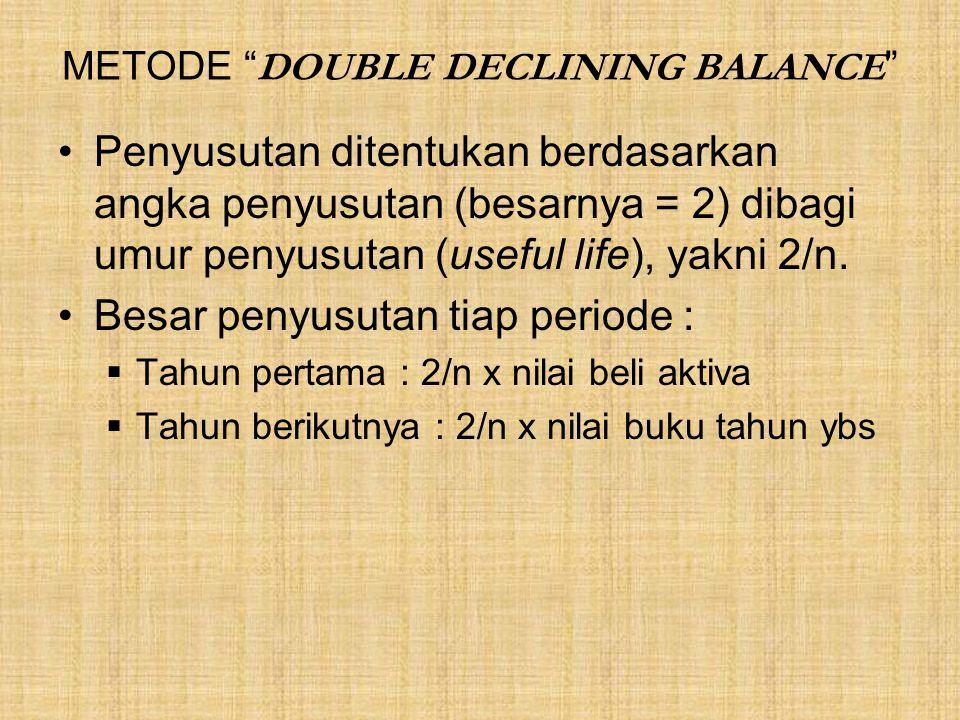 """METODE """" DOUBLE DECLINING BALANCE """" Penyusutan ditentukan berdasarkan angka penyusutan (besarnya = 2) dibagi umur penyusutan (useful life), yakni 2/n."""