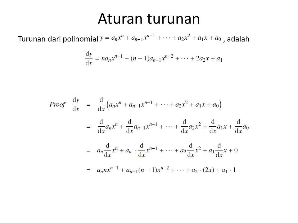 Aturan turunan Turunan dari polinomial, adalah