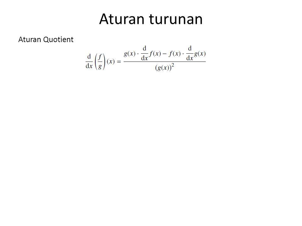 Aturan turunan Aturan Quotient