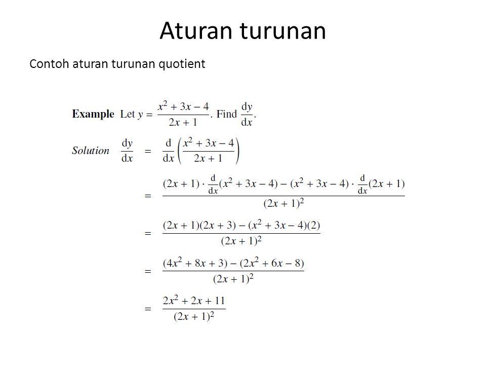 Aturan turunan Contoh aturan turunan quotient