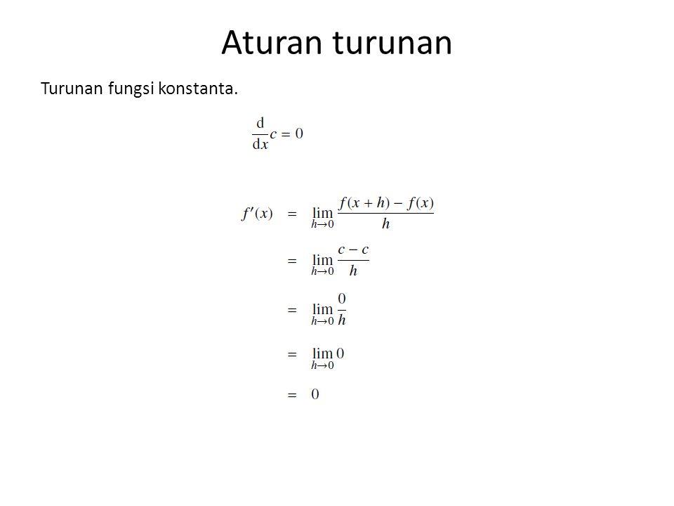 Aturan turunan Turunan fungsi konstanta.