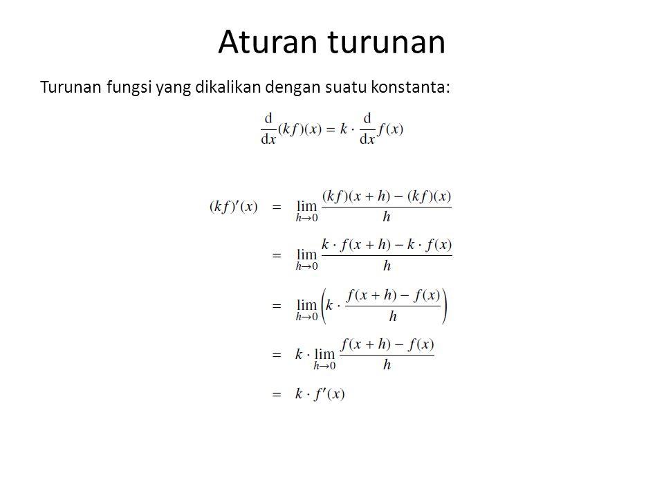 Aturan turunan Turunan fungsi yang dikalikan dengan suatu konstanta: