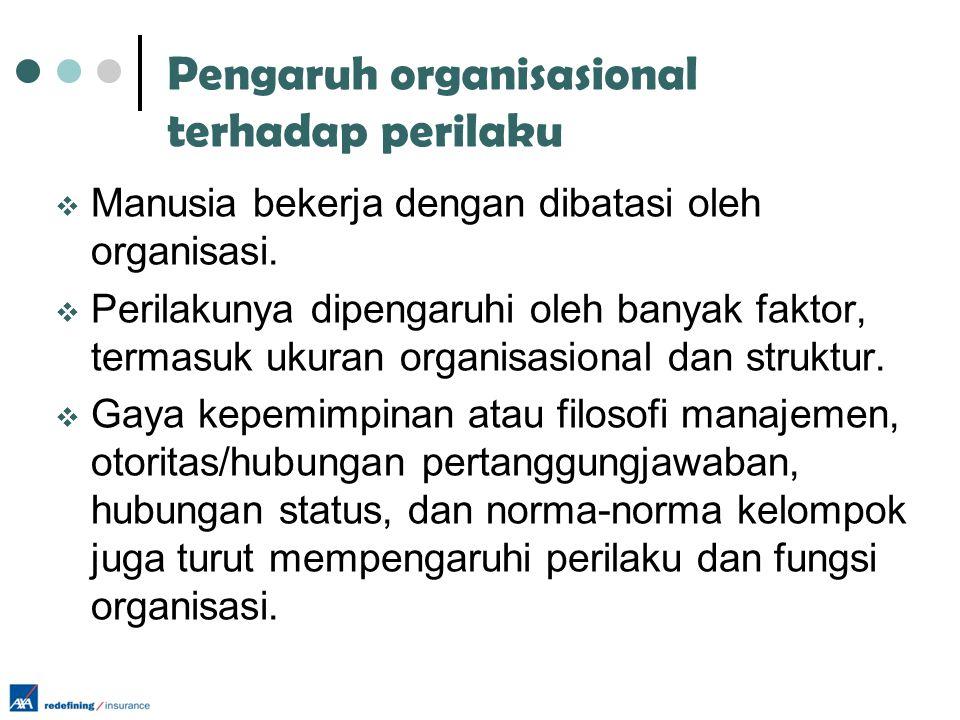Pengaruh organisasional terhadap perilaku  Manusia bekerja dengan dibatasi oleh organisasi.  Perilakunya dipengaruhi oleh banyak faktor, termasuk uk