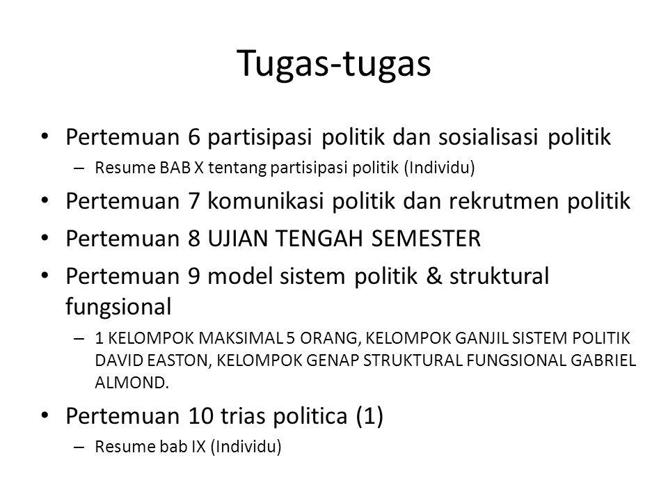 Tugas-tugas Pertemuan 11 trias politica (2) Pertemuan 12 partai politik dan kelompok kepentingan – Resume BAB XI PARTAI POLITIK (INDIVIDU) Pertemuan 13 demokrasi dan civil society – RESUME BAB IX DEMOKRASI Pertemuan 14 Pemilihan Umum – RESUME BAB XII TENTANG SISTEM PEMILIHAN UMUM Pertemuan 15 kebijakan publik Pertemuan 16 UAS