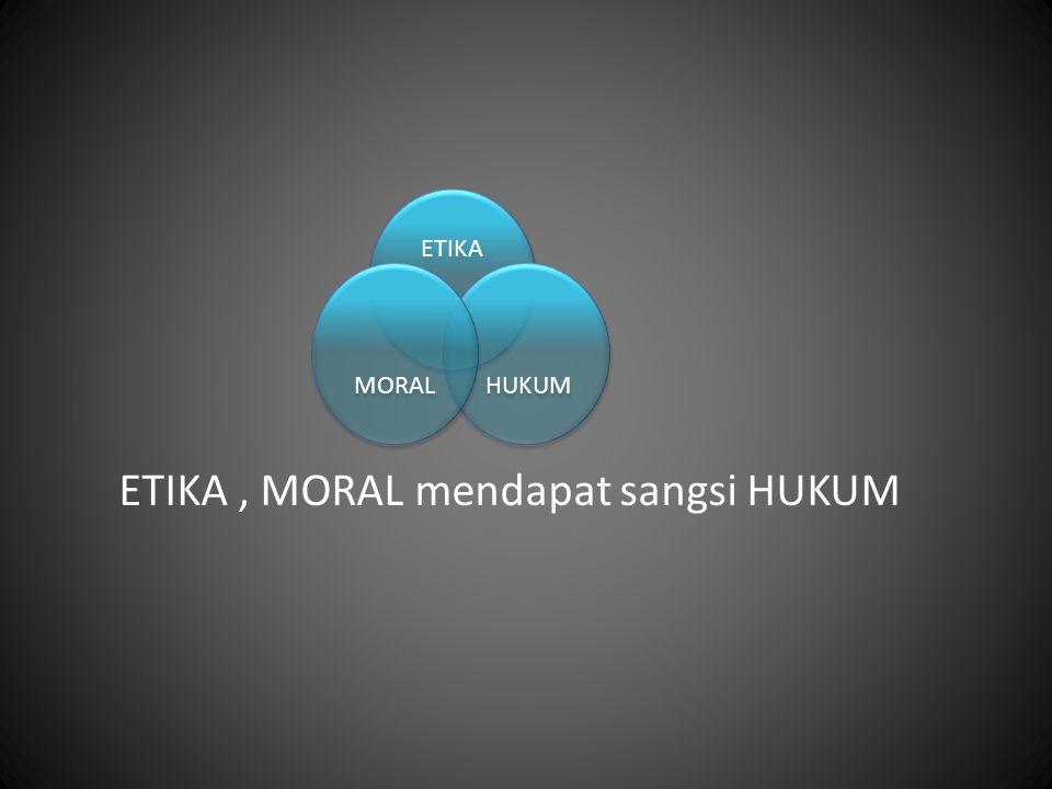 ETIKA, MORAL mendapat sangsi HUKUM ETIKA HUKUM MORAL