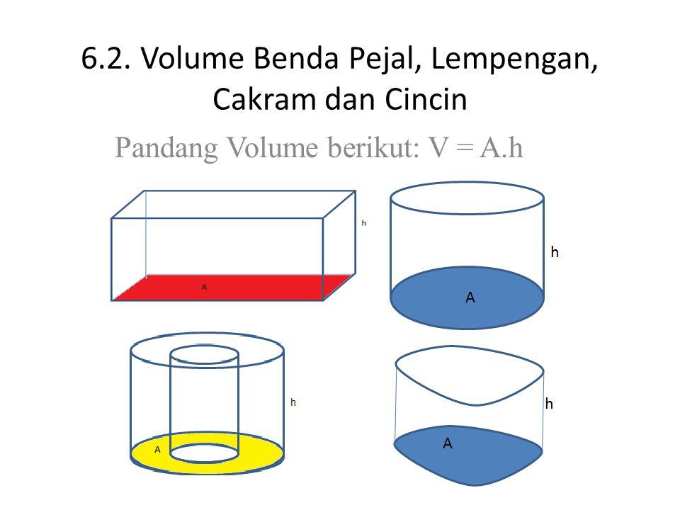 6.2. Volume Benda Pejal, Lempengan, Cakram dan Cincin Pandang Volume berikut: V = A.h