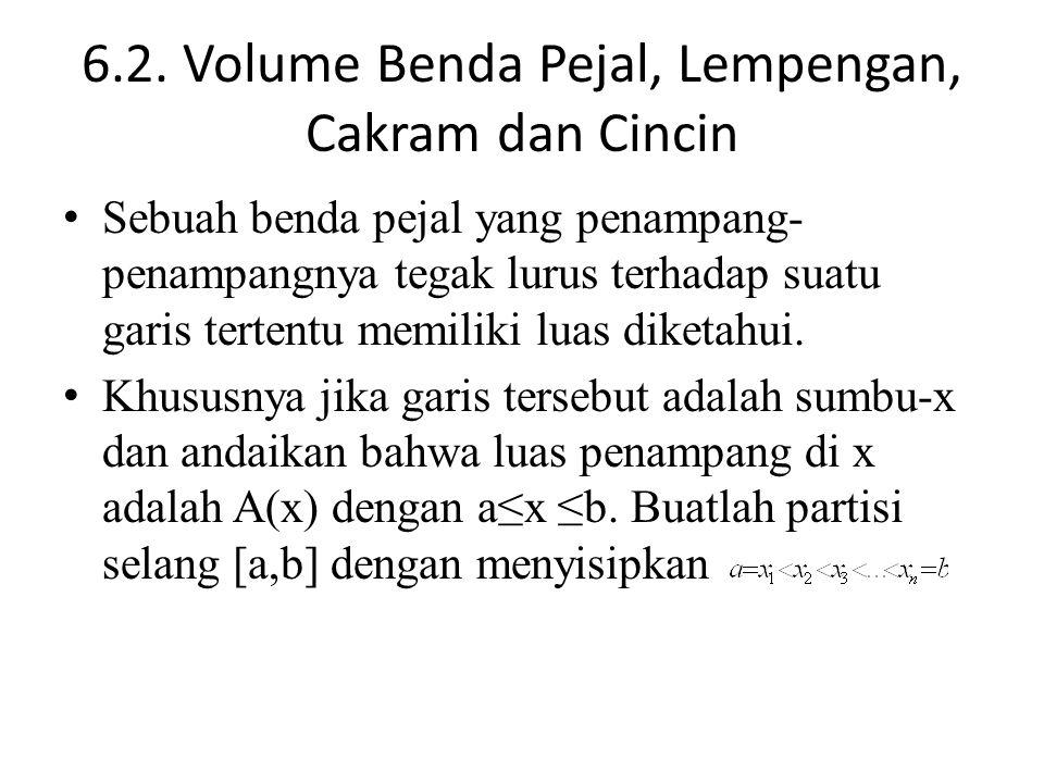 6.2. Volume Benda Pejal, Lempengan, Cakram dan Cincin Sebuah benda pejal yang penampang- penampangnya tegak lurus terhadap suatu garis tertentu memili