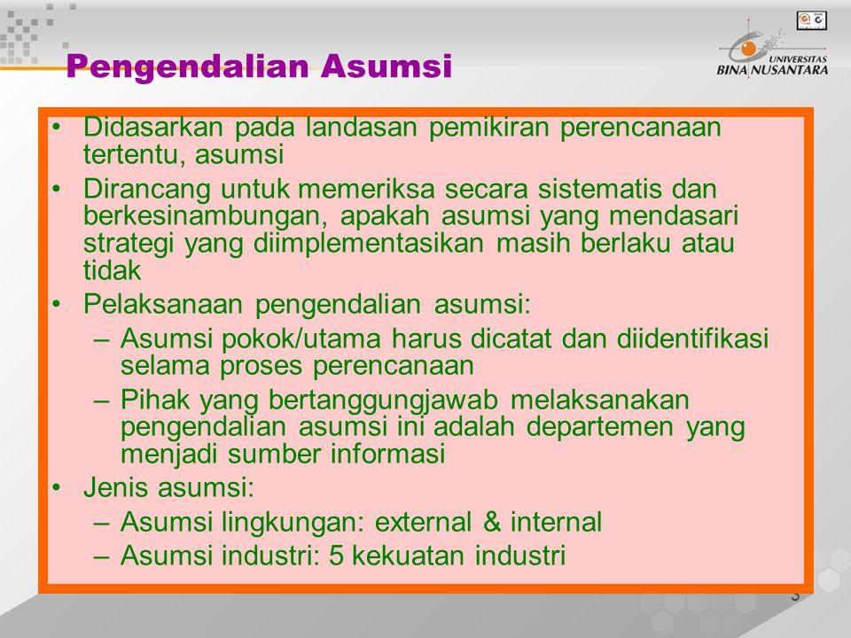 3 Pengendalian Asumsi Didasarkan pada landasan pemikiran perencanaan tertentu, asumsi Dirancang untuk memeriksa secara sistematis dan berkesinambungan