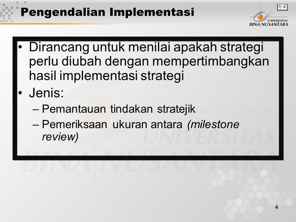 4 Pengendalian Implementasi Dirancang untuk menilai apakah strategi perlu diubah dengan mempertimbangkan hasil implementasi strategi Jenis: –Pemantaua