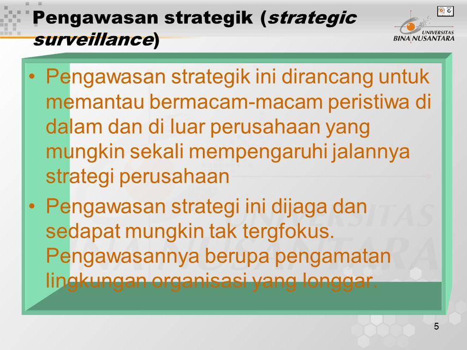5 Pengawasan strategik (strategic surveillance) Pengawasan strategik ini dirancang untuk memantau bermacam-macam peristiwa di dalam dan di luar perusa