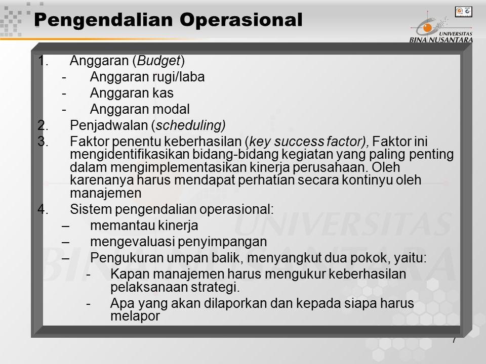 7 Pengendalian Operasional 1.Anggaran (Budget) -Anggaran rugi/laba -Anggaran kas -Anggaran modal 2.Penjadwalan (scheduling) 3.Faktor penentu keberhasi